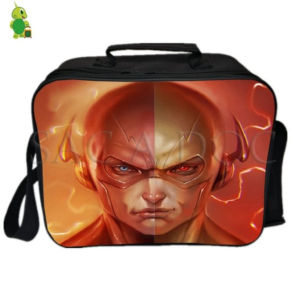 Flash Superhero Split Lunch Bag Fresh Keeping Cooler Bag Insulation Thermal Lunch Ice Pack Women Men Picnic Camping