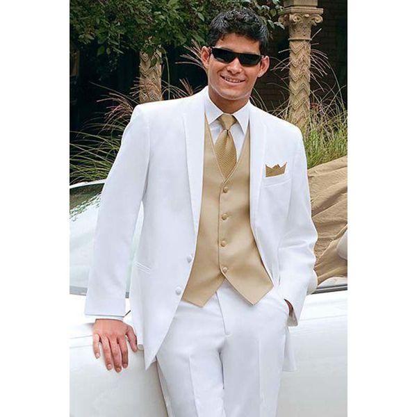 Golden Vest White Best Men Tuxedos suit For Summer Beach Wedding Groom mens Suits Masculino Ternos (Jacket +Pants+Vest+Tie) CY014