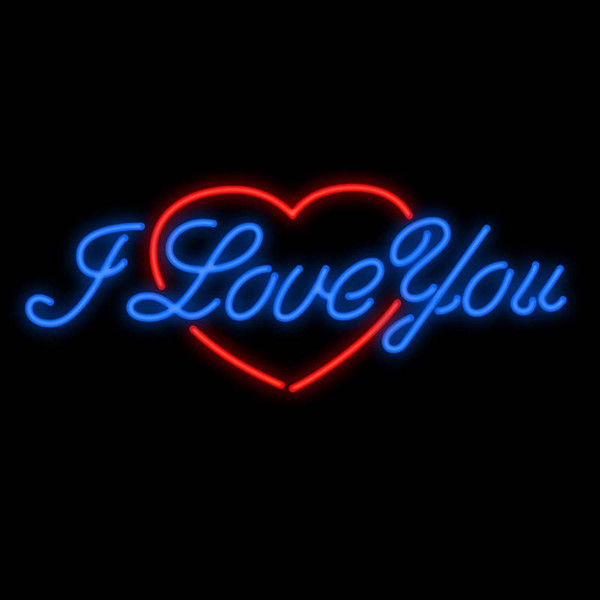 """I Love You Red Heart Neon Sign Custom Handcrafted Real Glass Tube Home Decoration Bedroom Gift Display Neon Signs 17""""X10"""""""