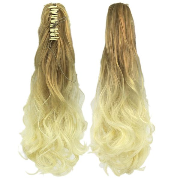 Multi-color Optional Dyeing Grip Ponytail Gradient Color Curls Grandma Ash Hair Extension High Temperature SilkHot jooyoo