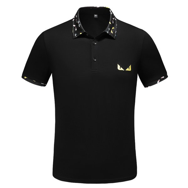 Mens Designer  Shirts Monster Print Collar T Shirt 2 Colors Fashion Embroidery Short Sleeve s Free Shipping