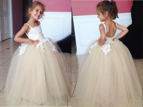 Tiered Skirt Flower Girl Dress Beaded Lace Hollow Back Gown For wedding Custom Made Floor Length Bow Lovely Baby Dresses