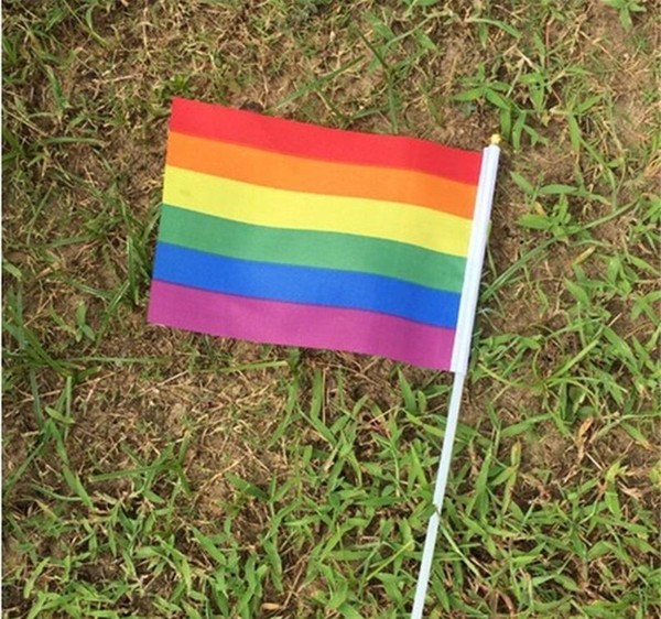 14*21cm gay pride Small national flag rainbow hand waving flags With Plastic Flagpoles For Sports Parade Decoration WCW37
