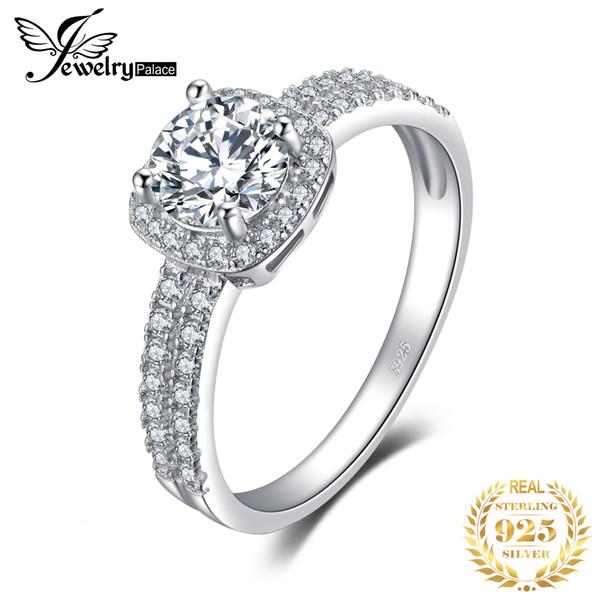 JewelryPalace 1 ct CZ halo Anillo de compromiso Anillos de plata esterlina 925 para mujeres Aniversario anillo de bodas anillos de joyería de plata 925 LY191203