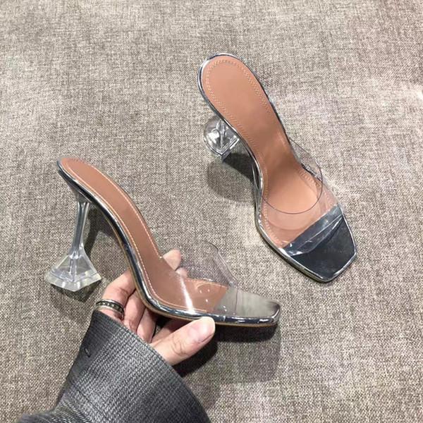 2019 été vente chaude pantoufles claires en PVC transparent pointes à talons hauts chaussures habillées à bout ouvert