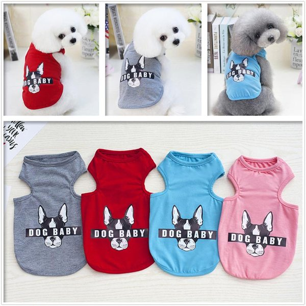 Pet Cat Dog Striped Vest T Shirt For Spring Summer Cute Puppy Letters Dogbaby Solid Sleeveless Costumes