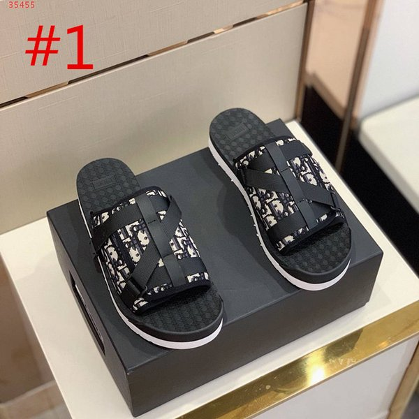 top popular 2020 Men BLACK SANDAL IN OBLIQUE JACQUARD summer Men slippers slides with nylon bands comfortable rubber sole scuffs with box size 38-44 2020