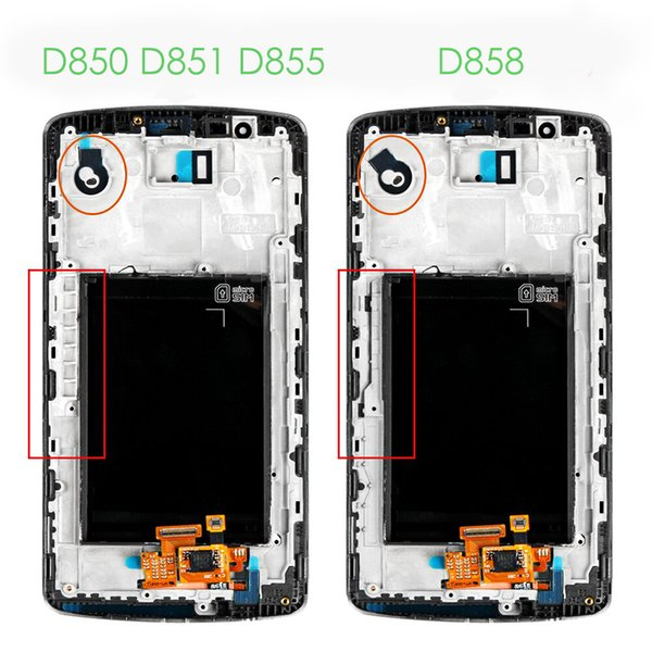 High quality white For LG G3 D850 D851 D855 VS985 LS990 LCD display screen+ frame and touch screen digitizer replacement assembly