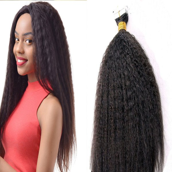 Hot African Coarse Yaki Tape Hair Extensions 100g Kinky straight Tape Human Hair Grade 6A Undressed Virgin PU Skin Weft Hair Extensiions