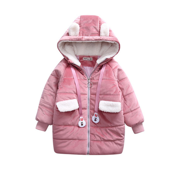 Rlyaeiz Autumn Winter Jacket For Girls 2018 Fashion Cute Gold Velvet Thick Warm Children Coat Girl's Fleece Hooded Parka Outwear