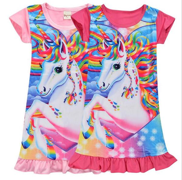 Bambini Unicorn Dress Designer Baby Girls Pigiama Dress Bambini Girl Unicorn Abiti Cartoon Unicorn Costume Kids Clothes Abbigliamento estivo regalo