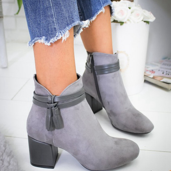 oeak 2019 women boots flock ankle boots spring autumn women ladies party western stretch fabric plus size 35-42