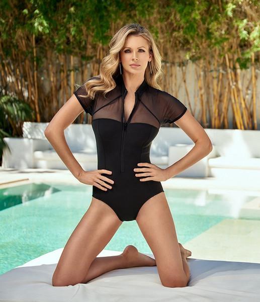 Black Zipper Bikinis One Piece Swimwear for Women Short Sleeve Swimsuit 2019 Woman Beach Mesh Monokini Bodysuits Lady Swim Wear Bathing Suit