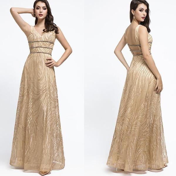 2019 Luxury amazing lace Evening Dresses yousef aljasmi sexy v neck beaded floor length arabic Prom Formal Gowns vestidos de fiesta 5503