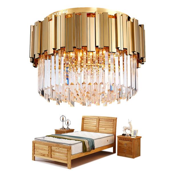Yuvarlak Altın Kristal Avize Tavan Lüks Modern Yatak Odası Için LED Lustres De Cristal Ev Kapalı Aydınlatma Armatürleri