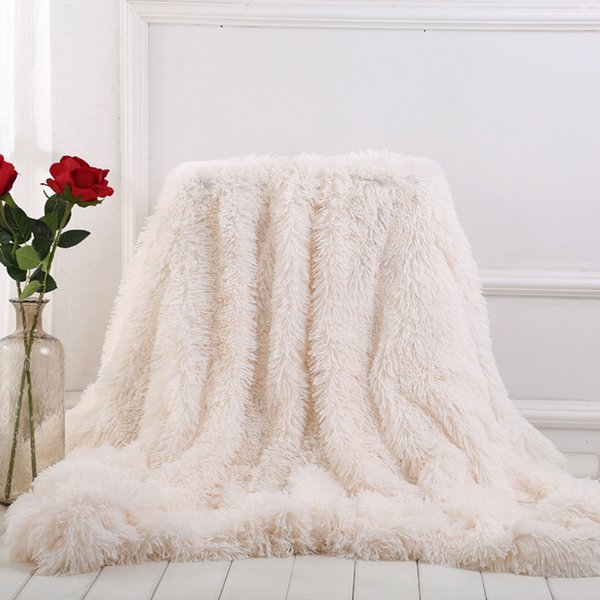 Warm Cosy With Fluffy Blankets Weiches Fell Decke auf der Couch Lange Shaggy Fuzzy Fur Faux Bed Sofa Supplies