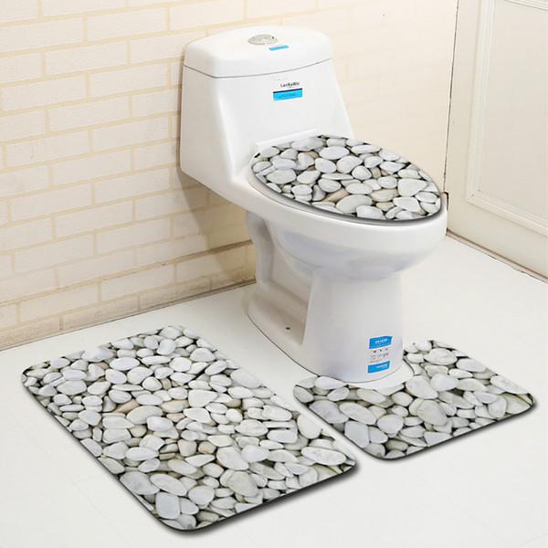 3pcs Tapete de Banho 3D de pedra impressão Non-Slip Bath Mat Casa de banho Cozinha Tapete Capachos Decor Toilet Seat Tank Cover Rug SH190919