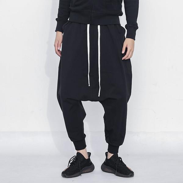 Siyah Hip Hop Jogging Yapan Pantolon Erkekler 2019 Yeni Streetwear Baggy Erkek Sweatpants Pamuk Rahat Harem Pantolon Erkekler