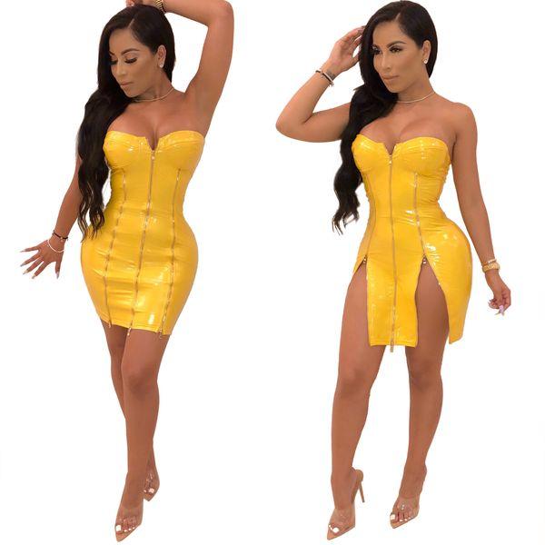 WOMENS YELLOW PVC PADDED ZIPPER DRESS FAUX LEATHER WET LOOK VINYL BODYCON S-XL OS4258