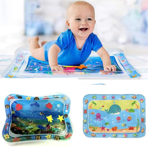 Bebé del agua Niños alfombra de juego juguetes inflables de PVC espesa el bebé Playmat Tiempo de la panza del niño Actividad Play Center estera de agua para bebés de 6 colores