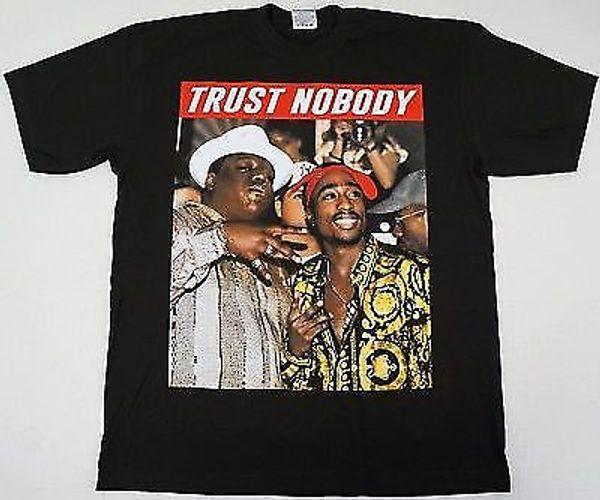 TUPAC SHAKUR BIGGIE Smalls T-shirt CONFIAR NOBODY 2 Pac Notorious B.I.GS-234XL V276 T-shirt de Manga Curta Plus Size