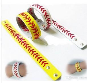 софтбольный спортивный браслет для бейсбола - актуальный кожаный бейсбольный браслет, желтая софтбольная кожа с красной строчкой швов