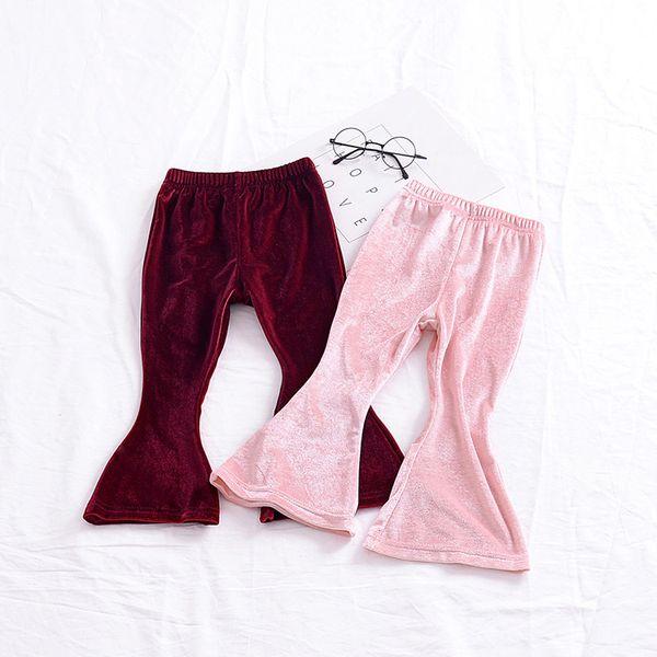 Baby girls Gold velvet Flare pants INS Leggings children Trousers 2019 new fashion kids Boutique Clothing DC051
