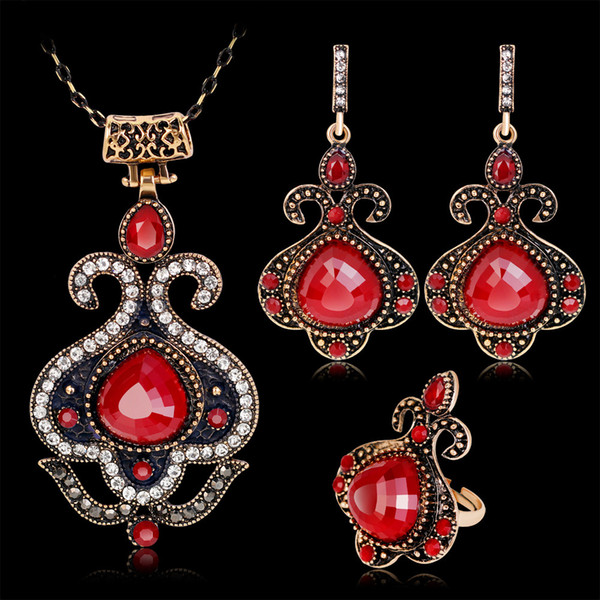 Turkish Crystal Wedding Jewelry Sets For Women Antique Gold Round Big Red / Blue Resin Stone Pendant Necklace Earrings Ring Set
