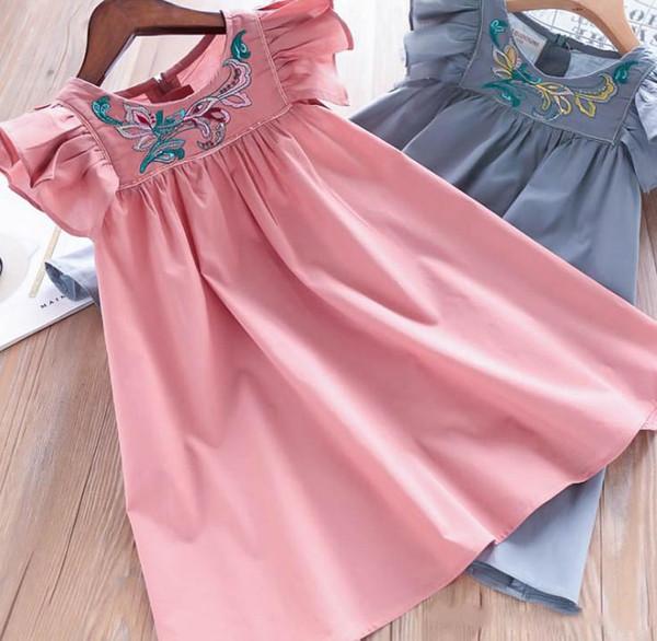 2019 nouveaux enfants robes d'été des enfants filles robe de princesse de broderie florale col rond manches falbala voler plage robe de vacances