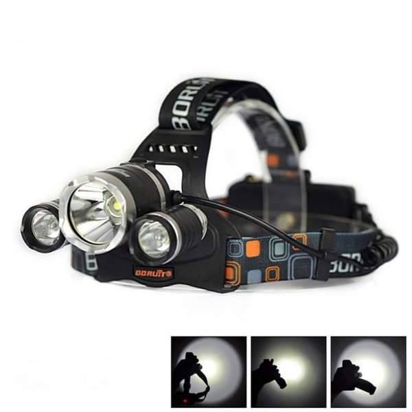 5000LM 3-Head 1T6 2R2 LED Recharge 18650 Headlamp Headlight Light Lamp