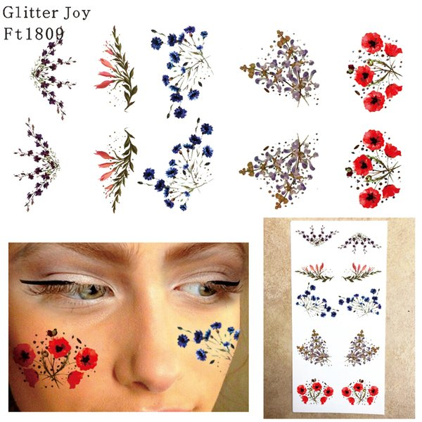 FT1809 Metallic Silver and Gold with Colored Flower Freckle Face Tattoo Sticker for Body Makeup inpsired