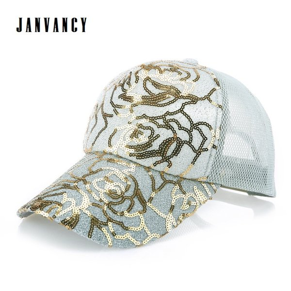 f32fb72db99c0b Lady's Baseball Cap with Shiny sequin Trucker mesh Hat for Women Hiphop  Irregular stripes Lace Glitter