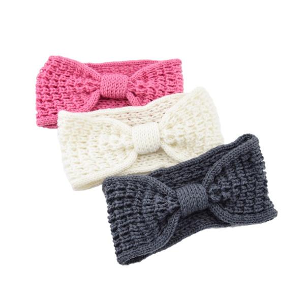 12 Color Fashion Girls Knot Bow Turban Knitted Headband for Women Crochet Hairband Winter Ear Warmer Turban Hair Accessories