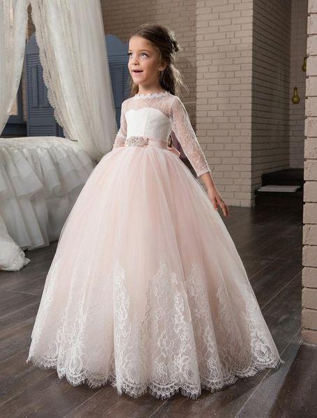 2020 Blush Flower Girl Dresses For Weddings Ball Gown 3/4 Sleeves Tulle Lace Bow Long First Communion Dresses Little Girl