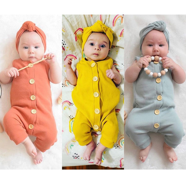 top popular Newborn Infant Baby Boys Girls sleeveless Jumpsuit Romper Toddler Kids Clothes with headband Boutique Summer Kid Clothing 2020