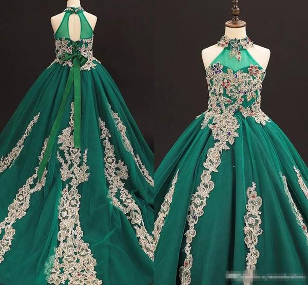 Vintage Green Girls Pageant robes col haut avec un long train Applique perlé cristal robe de fille de fleur pour le mariage enfants vetement