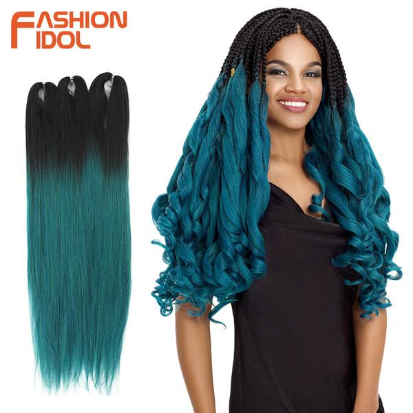 FASHION IDOL cheveux Jumbo synthétique Tressage Ombre cheveux Bleu Brun 65Inch 150g / Pc Crochet Tresses Extensions Déesse douce