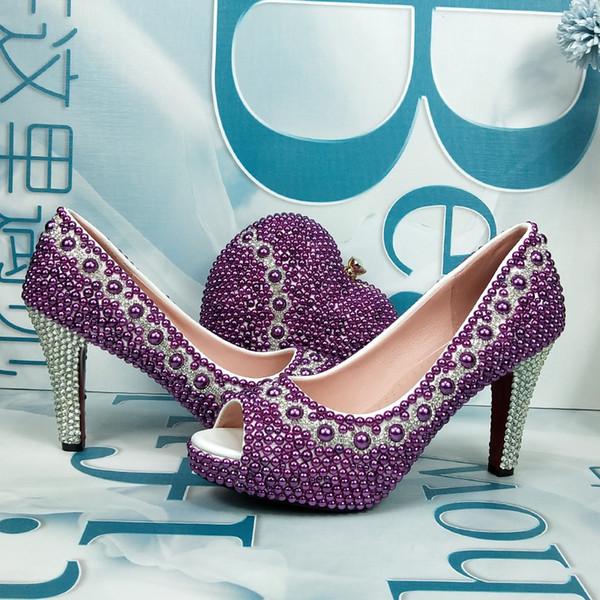 zapatos de boda de la perla de color púrpura con bolsas Novia a juego zapato de vestir partido y juego de bolsa de alta talones plataforma de la zapata punta abierta del dedo del pie de los pescados