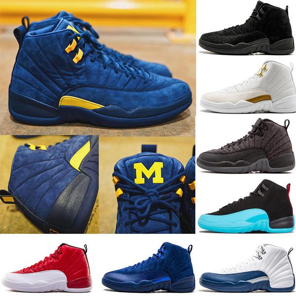 Michigan 12 Erkekler Basketbol Ayakkabıları 12 s OVO Siyah Beyaz Bulls erkek eğitmenler NYC UNC sneakers Grip Oyunu spor tasarımcısı ayakkabı US7-13