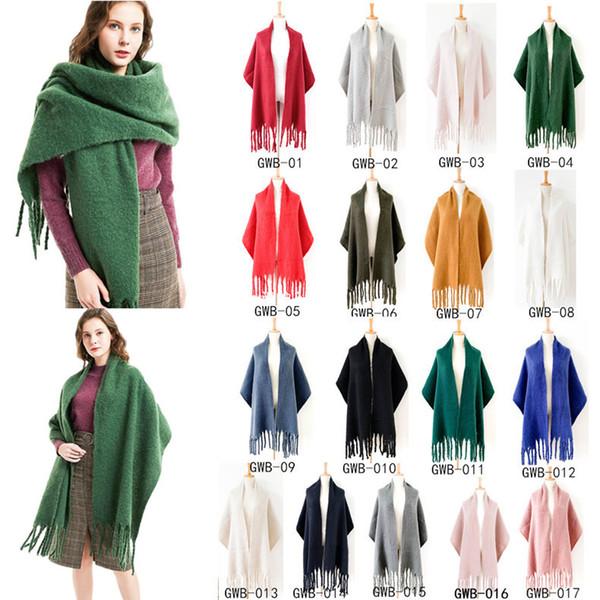 Solide Couleur mohair Foulards de femmes Châles d'hiver Taille longue Big chaud épais Lady Fashion en laine et cachemire Echarpes Glands Wrap CCA11890 20pcs