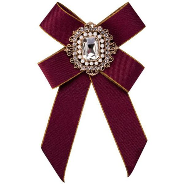Retro Fashion Crystal Pearl Bow Tie Brooch High Quality Silk Ribbon Bowknot Brooch Pins Women Girl Suit Shirt Accessoreis Jewelry