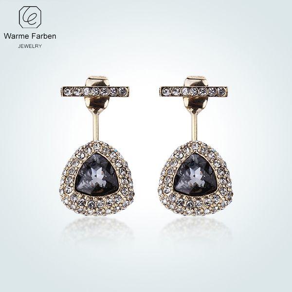Warme Farben Crystal From Swarovski Women Earrings Retro Gold Color Black Crystal Inlaid Zircon Water Drop Dangle Brincos Female Y19052301