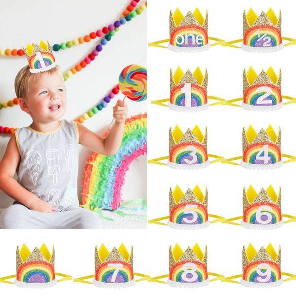 New rainbow Crown baby headbands glisten kids headband birthday party designer headband girls designer headbands hair accessories A4929