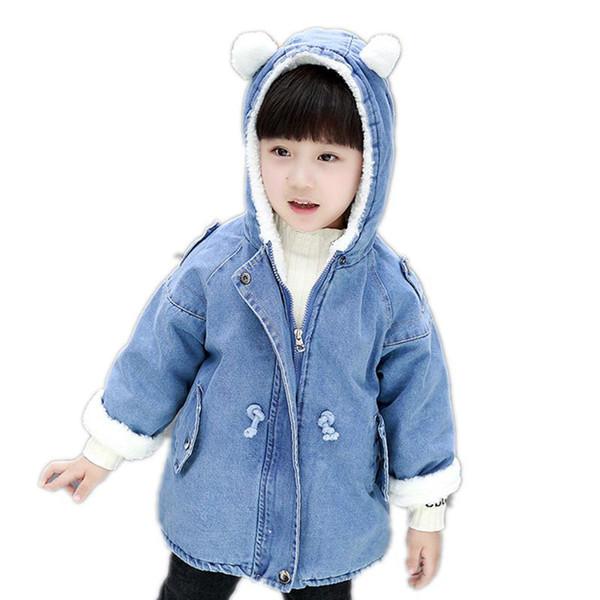 Girls Boy Coat Solid Denim Plus Velvet Warm Coat Girls Jackets Kids Coats Boy Clothes Baby Coats Outerwears Winter Top for Girl