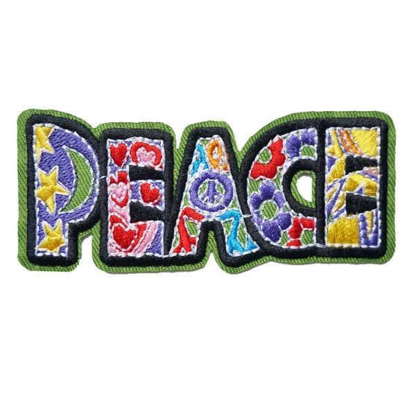 Green Peace Love Flowers Embroidered Patches Sew Iron On Fabric Badges For Dress Bag Jeans Hat T Shirt DIY Appliques Craft Decoration