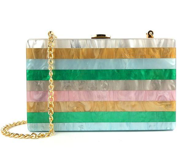 HandmadeLadies Dinner Bag Acrylic Color Stripe Mosaic Dress Clutch Evening Party luxury Bridal clutch purse Handbag