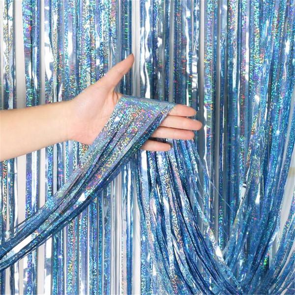 rideaux pour le salon Foil Curtains Chrome Shimmer kitchen curtains for Birthday Wedding Party cortinas para sala de estar