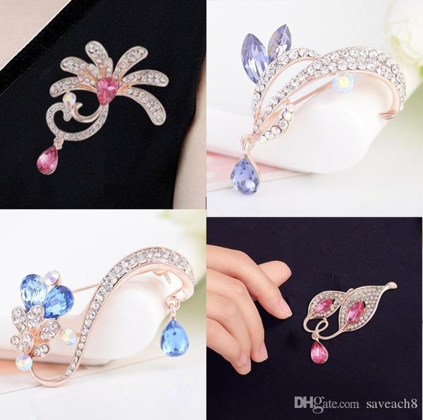 6 Style Choose Crystal Flower Peacock Plant Leaf Brooches for Women Elegant Fashion Brooches Pins Rhinestone Cute Korean Brooches