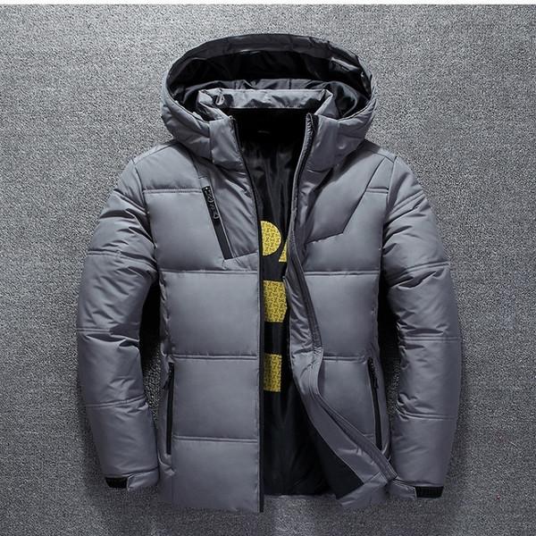 Duck Down Jacket Men Thicken Hooded Long Sleeve Blue Down Zipper Pocket Coat Warm Feather Winter Men Down Jacket Casual Outwear T190923