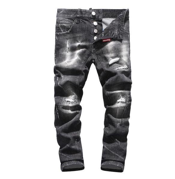 12f4ceab0 Новый 2019 мужской рваные джинсовые рваные джинсы темно-синий хлопок мода  плотно весна осень мужские брюки A8004